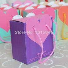 Free Shipping 20 X Purple Mini Candy Bag With Pink Heart  Paper Bag Candy Boxes Wedding Favor Gift Box Chocolate Box