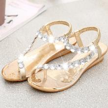 New Arrival Summer Fashion Women Crystal Shining Sandals Elastic Band PU Wedges Elegant Ladies Shoes Gold/ Silver