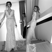 MZ-MSRHS New Long Sleeves Vintage Lace Backless Wedding Dresses 2017 Bride Sexy V Neck  Mermaid Wedding Gowns
