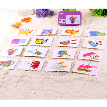 32 Pcs/Box Baby Learn English Puzzles Montessori Cognitive Pair Card Vehicl/Fruit/Animal/Life Puzzle Toys For Children Baby Gift(China)
