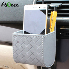 Portable Car Storage Bag Mobile Phone Bag PU Leather Car Auto Outlet Air Vent Trash Case Mobile Phone Sundries Storage Bucket(China)