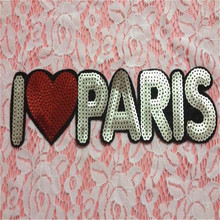 Clothes patch Apparel Sewing & Fabric Cute Letter I LOVE PARIS gold logo, Fashion sequins patches for clothing DIY free shipping