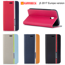 Karribeca flip wallet leather case For samsung galaxy j5 2017 funda colorful tone phone cover J530f coque etui puzdra tok husa