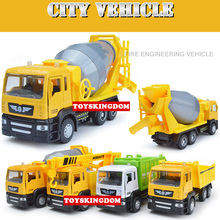 Funny 1:50 scale city Engineering vehicle Sanitation truck hoists cement mixer diecast car model pull back alloy toys for kids