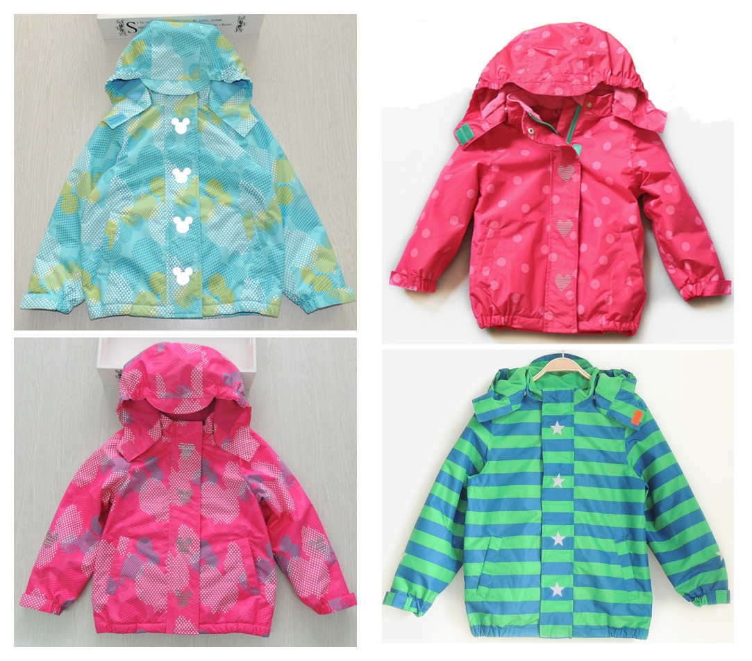 Polka dot female child with a hood windproof rainproof outdoor jacket plus velvet child outerwear quality childrens clothing<br>