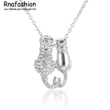 NO MINIMUM ORDER Fashion Small jewelry wholesale European style fashion lovers cat necklace pendant Jewellery For Women Gift(China)