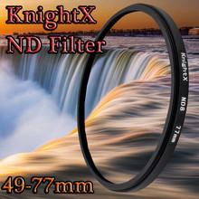 KnightX ND2 ND4 ND8 ND FILTER for Nikon D3100 D3200 D5200 D7100 for Canon 1100d 1200D 49mm 52mm 55mm 58mm 62mm 67mm 72mm 77mm(China)