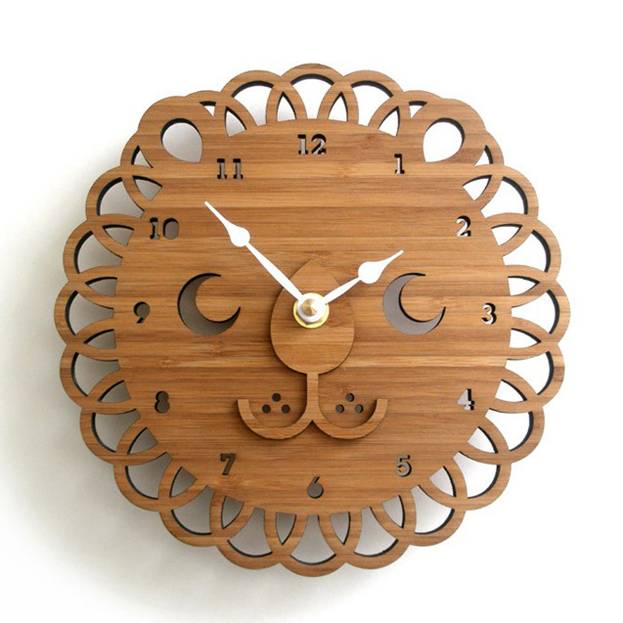 "Bamboo Lion Wall Clock Creative Watch Modern Design Silent for Kids 12""(China (Mainland))"