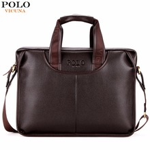 VICUNA POLO Classic Design Large Size Leather Briefcases Men Casual Business Man Bag Office Briefcase Bags Laptop Bag maletin(China)