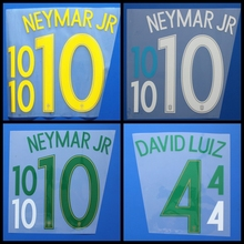 New Brazil T.SILVA WILLIAN DAVID LUIZ D.COSTA NEYMAR JR football number name font print, Hot stamping Soccer patches badges(China)