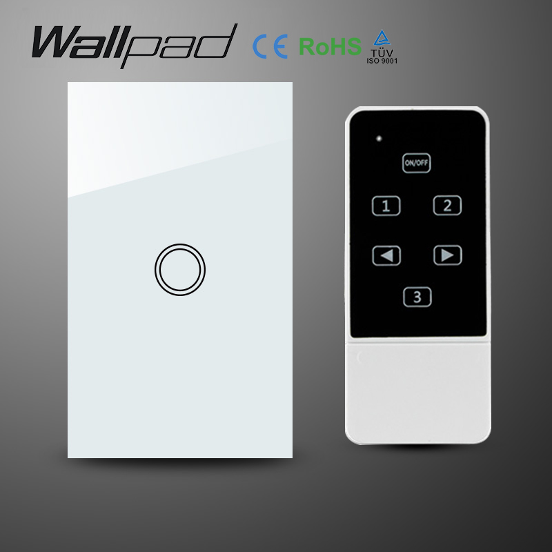 White Crystal Glass 118 US AU 1 Gang Wifi Light Switch,Wallpad Wireless Remote control wall touch light switch,Free Shipping<br>