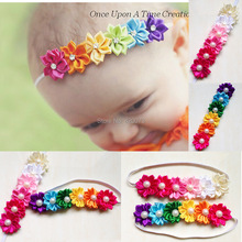 Free Shipping 12 Pcs/lot Satin Flower Headband With Pearl For Girls Kids Handmade Boutique Elastic Hairband Hair Accessories