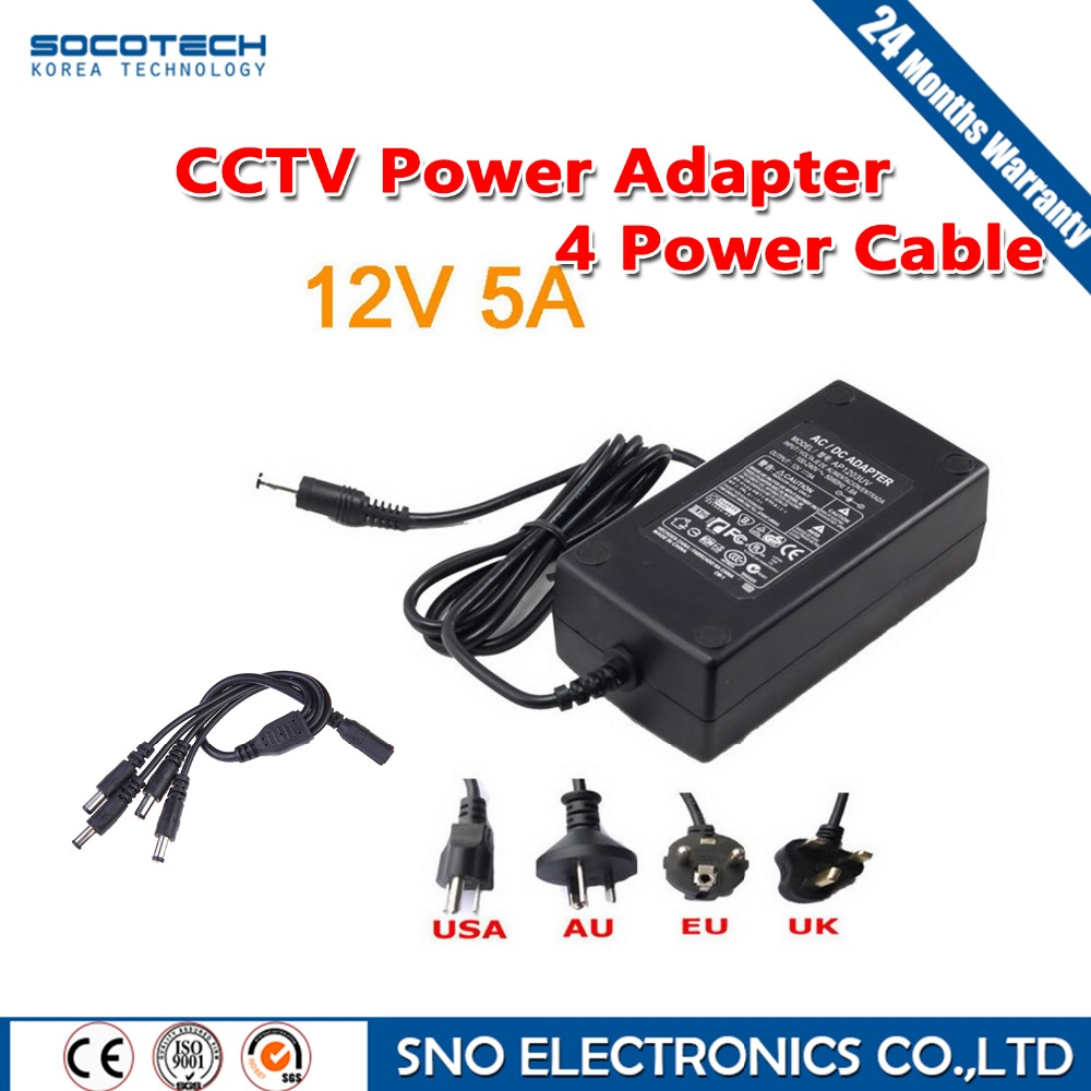 SOCOTECH EU &amp; US Cord CCTV Power Supply Cable &amp; CCTV Camera 12V 5A 1 Split 4 Power Adapter for Security System<br><br>Aliexpress