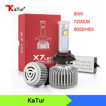 80W/set 3600Lm X7 9005 HB3 Led Headlight Conversion Kit Auto Car Replacement Fog Lights Head Lamp 6000K White DRL Plug&play