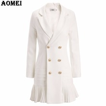 New Fashion Suit Women Blazer Workwear White With Ruffle Office Ladies Long Blaser Clothing Fall Golden Button Spring Winter Top(China)