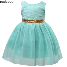 Summer Flower Princess Sequins Girl Dress Clothes Toddler Wedding Fancy Party Gold BowKnot Tutu Green Dresses Kids girls clothes(China)