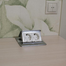 New And high quality 2*EU power table socket / floor socket/pop up socket,can hide, silver /golden 10 pcs /set