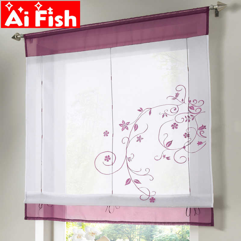 Simple All-match Embroidered Floral Window Roman Curtain Blinds For Living Room Fashion Solid Kitchen Tulle Drapes DL001-30