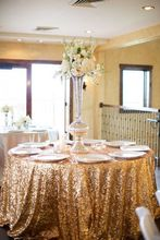 High Quality 120'' Round Wedding Sequin Tablecloth Directly Selling From Factory