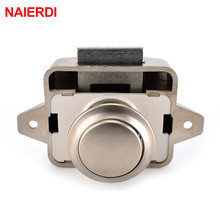 NAIERDI Camper Car Push Lock Diameter 26mm RV Caravan Boat Motor Home Cabinet Drawer Latch Button Locks For Furniture Hardware