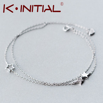 Kinitial 1Pcs 925 Silver Hollow Star Bracelets & Bangles New Fashion Pentagram Bracelet For Women Cuff Party Gift