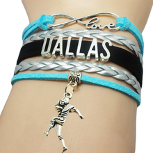 Drop Shipping Infinity Love Dallas Sports Man Charm Handmade Leather Wrap Bracelet Custom Basketball Fans Bracelet