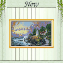 The beacon light tower seaside sun 11CT counted print on canvas needlework full embroidery Sets DMC 14CT Cross Stitch kits Decor