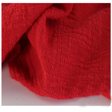Soft Linen Cotton material red crincle wrinkle tissue scarves dress double layer linen cotton crepe fabric By meter