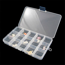 15 Grids Transparent Jewelry Beads Pills Nail Art Tips Storage Box Case DIY Assembly Cosmetic Container Makeup Organizer D40JL2