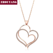 Top Quality Noble Heart Crystal Rose Gold Color Pendant Necklace Made with Austria Crystal Wholesale ZYN218 ZYN217