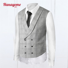Men's White Mens Vest Double Breasted Pinstripe Suit Male Wedding Suits For Men Sleeveless Jackets Vest One Piece SI010