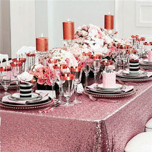 60''x102''(150x260cm) Pink Gold Sequins Wedding Rectangular Tablecloth, Table Overlays Sequin Table cloth for Wedding Decoration