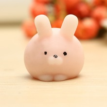 1 Pcs Mochi Pink Bunny Phone Straps Soft Toy Rubber Cute Cartoon Simulation Cellphone Charm Slow Rebounding Key Pendant