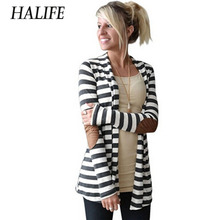 Runway Striped Cotton Cardigan Women Elbow Patching PU Leather Long Sleeve Jacket Knitwear Poncho Pull Femme Hiver 10ZYQ