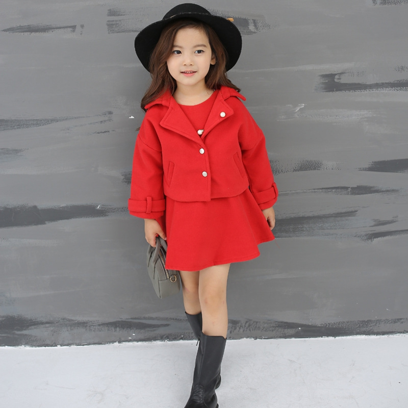 Girls Korean version of the dress with a hat two sets of new long sleeves jacket autumn and winter thick dress dressH28181<br>
