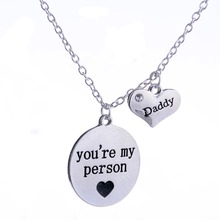 Daddy Necklace You're Are My Person Crystal Heart Love Family Male Chain Pendant Necklaces Men Father's Day Gifts