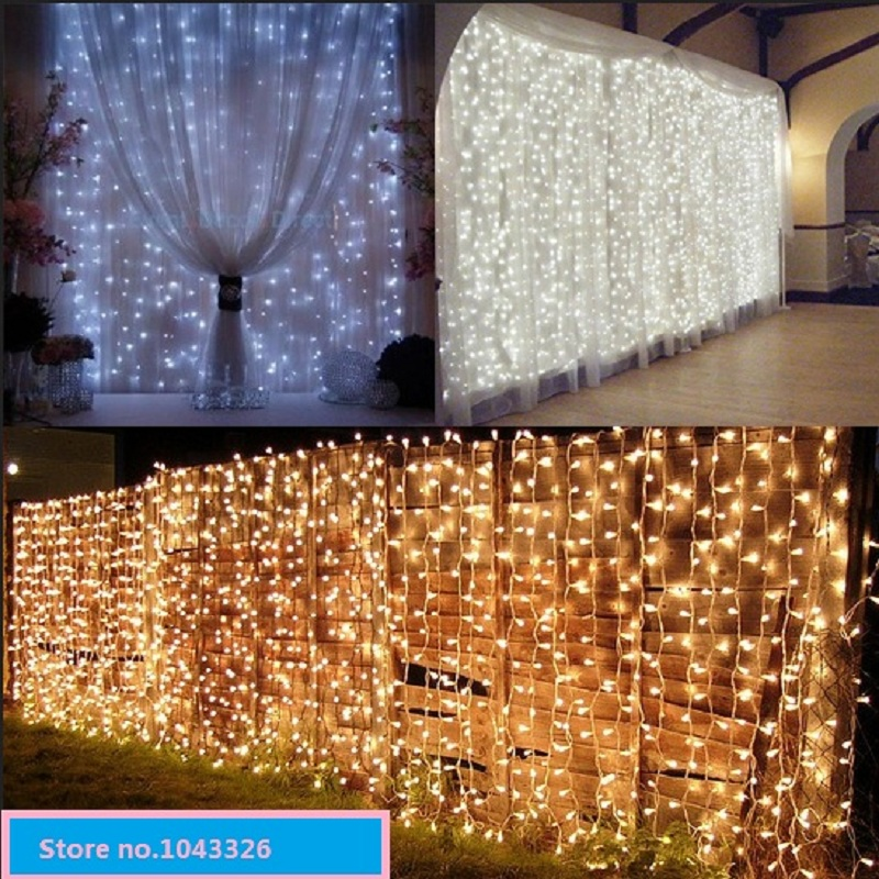 outdoor indoor Christmas home curtain wedding backdrop string curtain lamp warm white LED waterfall decoration lights(China (Mainland))