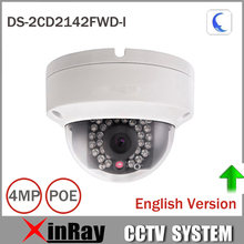 Hik 4MP IP Camer DS-2CD2142FWD-I IP POE Camera Day/night Infrared IP67 IK10 Protection Outdoor Dome Camera support ONVIF(China)