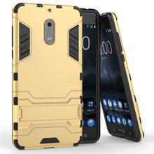 New Dual Layer Hybrid Tough Rugged Armor For Nokia 6 Case Fundas PC+TPU Kick Stand Back Cover For Nokia 6 Mobile Phone Bags