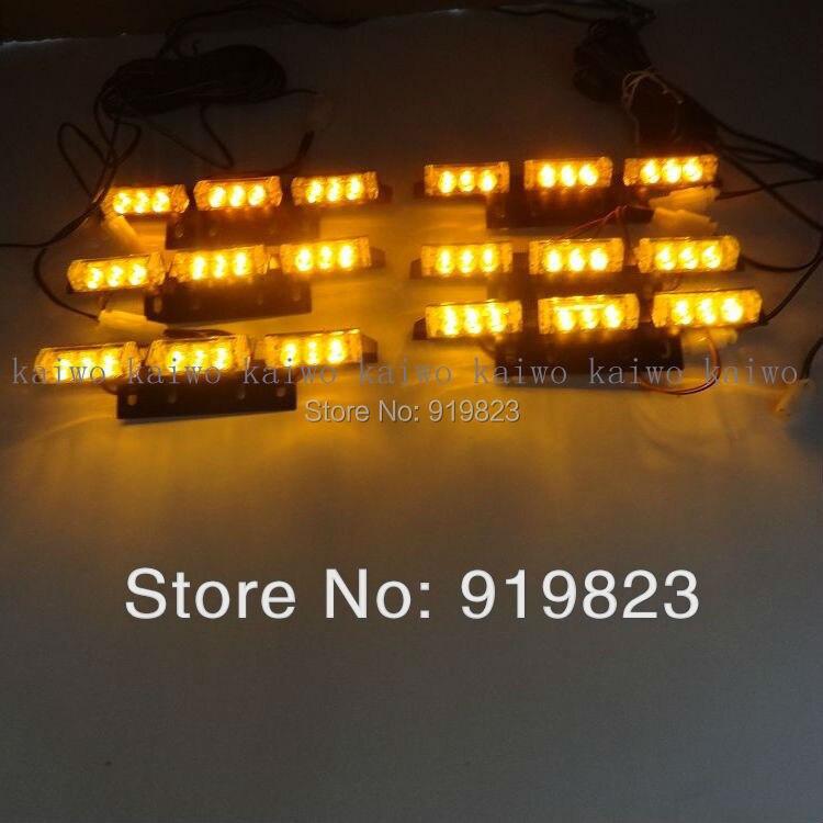 03024 6*9 54 LED warning lights Flash Light. Car Light Flashing Emergency Firemen Lamp  3 Mode 12V.  Amber light Free shipping<br>