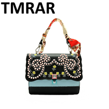 2017 New fashion pu leather women rivets studs bow tote bag satchels girls stylish handbags high chic messenger bags qn142(China)