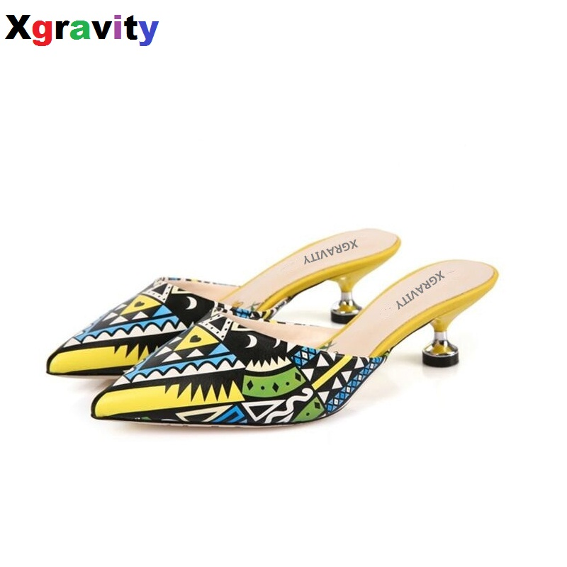 Xgravity 2017 European American New Graffiti Women Mid Heeled Sexy Comfort Lady Fashion Womans Point Toe Sandals Girl Slippers<br>