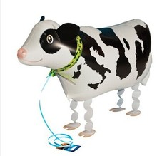 whosale 10pcs/lot Walking My Own Pet Balloons Farm Animals Edition cow walking balloons free shipping(China)