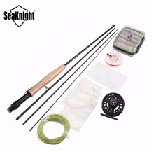 SeaKnight Fly Fishing Combo Set Fly Fishing Rod 2.1M 4 Sections + Fly Fishing Reels 3/4 Aluminum+ Fly Line+Fishing lure with box