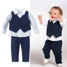 clothing and child boy formal long sleeve shirt pants 3 pieces set Gentleman children's costumes birthday wear kids baby(China)
