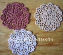 Free shipping wholesale hand made Crochet Cup mat,100% cotton Ecru Doily ,coaster ,place mat 12X12CM 20PCS/LOT(China)