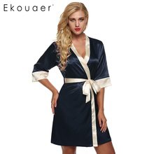 Ekouaer Women's Kimono Robe Knee Length Bathrobe Sexy Lingerie Sleepwear Short Satin Lace Nightwear Bridesmaid Robes XS-XL(China)