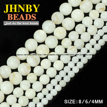 JHNBY White Shell beads High quality Natural Sea Shells Stone Round Loose bead ball 4/6/8MM handmade Jewelry bracelet making DIY