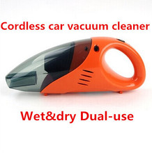 Free Shipping  high power car vacuum cleaner wet dry dual-use cordless car vacuum cleaner 12V, 60W Orange