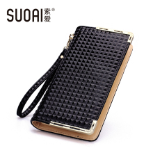 SUOAI Wallet 2017 New Women Plaid Long Purse European And American Style PU Wallets Card Phone Holder(China)